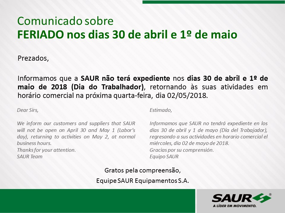 Communication about the holiday on April 30 and May 1